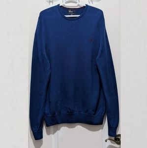 Fred Perry merino wool blue crew neck sweater size Large
